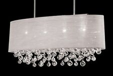 New 4 Lamp Crystal Balls Chandelier Oval Silk Shade Pendant Ceiling Light D36""