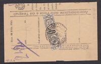 4 Lire pacchi postali Luogotenenza isolato su frammento 1946 di telegramma