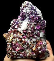 538g Rare Beauty 7Colored Chalcopyrite & Calcite Crystal Mineral Specimen