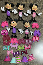 Disney Mattel Minnie Mouse Snap 'n Pose Dress Up Doll + Clothes Lot 27 Pieces