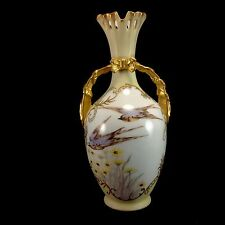 Leonard Vienna Austria Vase Hand Painted with Birds Swallows Gilt Gold Accents