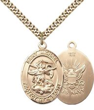 14K Gold Filled St Michael The Archangel Navy Military Catholic Medal Necklace