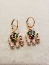 Sweet Yellow gold Plated Multi resin Crystal Pink  Elephant Dangle earrings