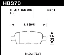 Hawk Disc Brake Pad-Base Rear for Infiniti / Nissan / Suzuki # HB370Z.559