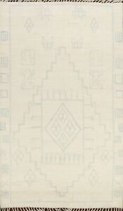 Vegetable Dye IVORY Hand-knotted Geometric Moroccan Berber Oriental Area Rug 6x8