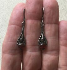 Vintage Caviar Bali Earrings Sterling Dangle Red Accent Boho Elegant 1.5""