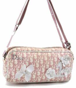 Auth Christian Dior Trotter Flower No.1 Shoulder Cross Body Bag PVC Pink C8648