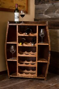 Half Wine Barrel Bottle Cabinet, Provincial Finish, Authentic Burgundy Oak