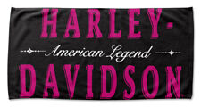 Harley-Davidson Heirloom H-D Beach Towel, 30 x 60 inch, Black & Pink NW131262