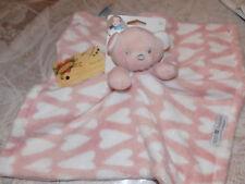 SECURITY BLANKET KIDS PREFERRED BEAR ROSE GOLD WHITE ( MED PINK ) HEARTS SOFT