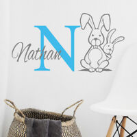 Personalised initial name wall sticker rabbit girls baby art nursery p12