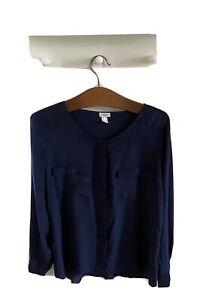 Navy Silk Blouse By Heine ~ Size 14