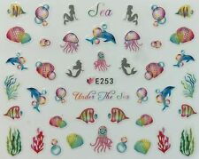 Nail Art 3D Decal Stickers Under the Sea Fish Octopus Mermaid Shells E253