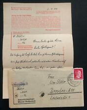 1944 Germany Weimar Buchenwald Concentration Camp Cover W/Letter KZ W Stohr