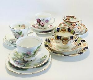 Vintage Trio's Tea Cup & Saucer & Tea Plate Serving Tableware Fine Bone China