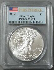 2012 AMERICAN SILVER EAGLE $1 DOLLAR COIN PCGS MINT STATE 69 FIRST STRIKE FLAG