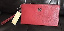 Michael Kors Fulton Red Large Pebbled Leather Zip Top Clutch Wristlet NWT $118