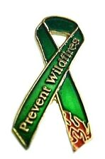 Fire Prevention Lapel Pin Prevent Wildfires Awareness Green Ribbon Flames New