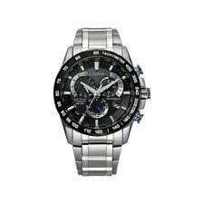 Citizen Eco-Drive Perpetual Chrono A-T Black Dial Mens Titanium Watch CB5908-57E