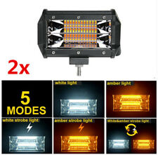 "5"" 72W LED Spot Work Light Solid / Strobe White/Amber Lamp Offroad Truck SUV 2x"
