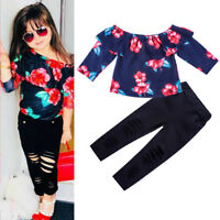 2PCS Toddler Kids Baby Girls Outfits Clothes Floral T-shirt Tops+Holes Pants Set