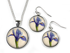 IRISES - Set: Pendant, Chain & Earrings - Glass Picture Jewellery -Silver Plated
