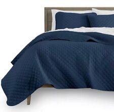 Santee Navy Blue Solid Color Bedspread Coverlet Set 3 Pcs Queen Size