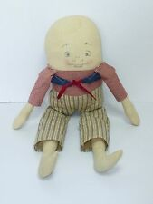 Vintage 1940's Humpty Dumpty Cloth Doll Painted On Face Home Spun Hand Made