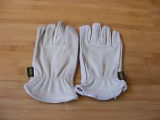 Firm Grip Pro Full Grain Leather Outdoor Lawn Work Gloves Tan, SMALL