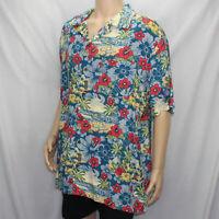 Disney Parks Men's XL Multicolor Hawaiian Shirt Pluto Mickey Mouse Floral Aloha