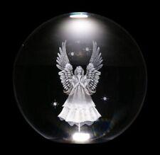 Wahrsager Kugel mit weißem Engel - 8 cm - Kristallkugel Glaskugel Deko Altar
