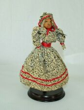 Vintage Folk Art Walnut Head Black Standing Female Americana Doll