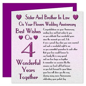 Sister & Brother In Law 1st - 70th Years - Your Wedding Anniversary Card - Verse