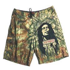 Dragonfly Bob Marley Rasta Reggae Surf Board Shorts 40 Green Brown Embroidered