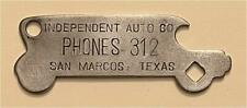 1910s Independent Auto Co Phones 312 San Marcos Texas Car Bottle Opener A-13