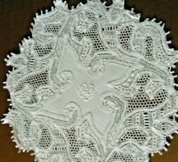 Antique doily combo exceptional work h done deco needle lace design monogram
