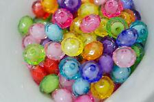 20 Mixte Perles Transparent en acrylique Facette 10mm Perle rondelle 10 x 7mm