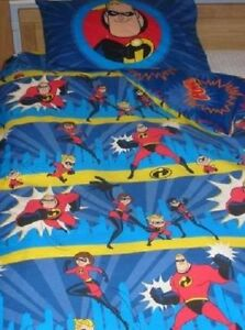 RARE! Vintage DISNEY Pixar `INCREDIBLES` Single Reversible duvet cover & P/Case!