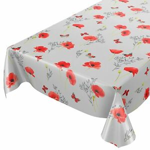 PVC Plastic Table Cloth Plain Grey Red Poppy Flowers Butterfly Silver Wipe clean