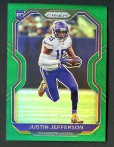 2020 Prizm Football Justin Jefferson VIKINGS RC Green Refractor #398