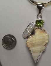 Charles Albert Biwa Pearl Perdot Shell Fine 925 Sterling Silver Pendant New
