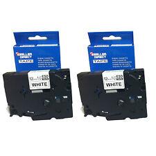 Paquete De 2 TZ231 compatible con Brother P-Touch 12mm Laminado Brillo Negro/Blanco Cinta