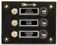 3 Gang Fused Marine Switch Panel  for Boats Caravans Rv's 12 Volt Switch Panel