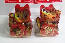 Maneki Neko Lucky Cat Origami 3D Paper Golden Color Hanging Charm Pair