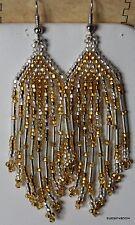 "Handmade Native American Design Beaded Earrings 3.5"" Dangle Hook Large (8-J )"