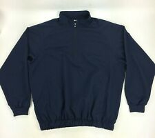 Footjoy Men's Large Navy Blue Long Sleeve 1/4 Zip Windbreaker Light Jacket Golf