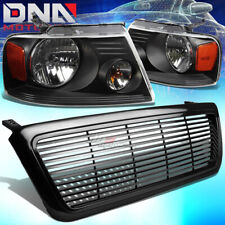 FOR 04-08 FORD F-150 BLACK BUMPER GRILL+HEAD LAMPS LIGHT AMBER REFLECTOR LENS