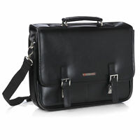 Alpine Swiss Hunter Leather Briefcase Professional Messenger Bag Business Case