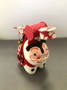 """Japanese toy drum""""denden taiko"""" on Dog-shaped Paper-mache Lucky charm"""