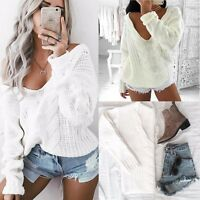 Women Oversized Long Sleeve Knitted Pullover Loose Sweater Jumper Tops Knitwear
